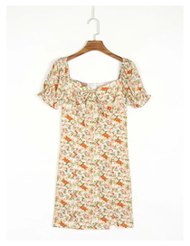 Fashion Color Flower Print Low Neck Short Sleeve Dress