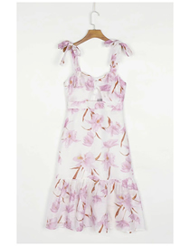 Fashion Pink Flowers Lace-up Flower Print Suspender Dress