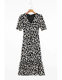 Fashion Black Daisy Print V-neck Short Sleeve Dress