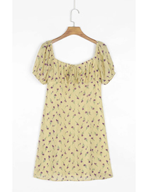 Fashion Yellow Floral Print Lace Short Sleeve Dress