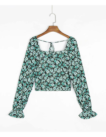 Fashion Green Floral Floral Print Square Neck Tether Long Sleeve Top
