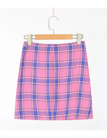 Fashion Fuchsia Plaid Plaid Slit Skirt