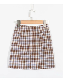 Fashion Khaki Check Print Slit Skirt