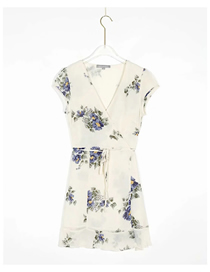 Fashion Off-white Flowers Flower Print V-neck Dress