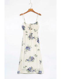 Fashion Off-white Flowers Flower Print Suspender Dress