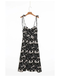 Fashion Black Print Mermaid Print Strap Dress