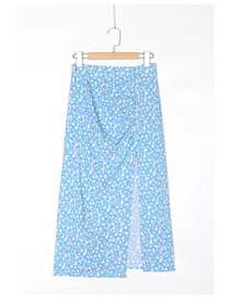 Fashion Blue Floral Floral Print Pleated Slit Skirt