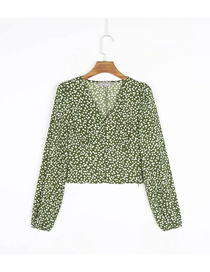 Fashion Green Dots Polka Dot Print V-neck Long Sleeve Top