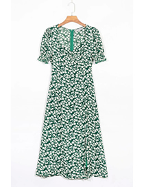 Fashion Green Floral Floral Print Short Sleeve V-neck Dress