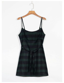 Fashion Lattice Check Stripe Suspender Dress