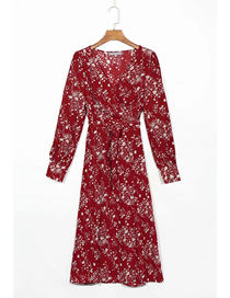 Fashion Red Print Floral Print V-neck Long Sleeve Dress