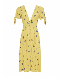 Fashion Yellow Floral Floral Print V-neck Short Sleeve Dress