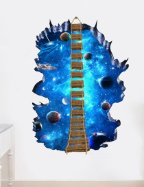 Fashion Planet 3d Starry Sky Planet Wooden Bridge Living Room Bedroom Shopping Mall Stickers
