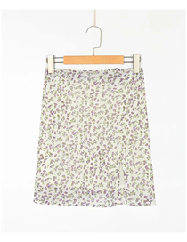 Fashion Off-white Floral Floral Print Slit Skirt
