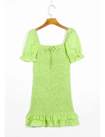 Fashion Green Gathered Ruffled Stretch Short Sleeve Dress