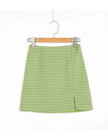 Fashion Green Grid Plaid Slit Skirt