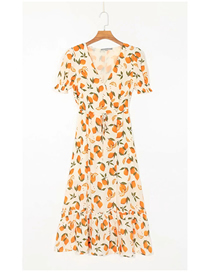 Fashion Fruit Print Fruit Print V-neck Short Sleeve Dress