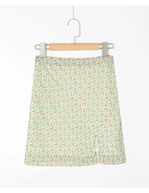 Fashion Green Floral Print Slit Skirt