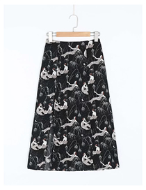 Fashion Black Mermaid Print Slit Skirt