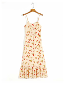 Fashion Yellow Floral Floral Print Suspender Dress