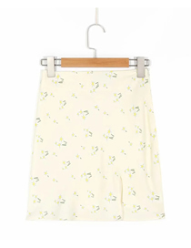 Fashion Yellow Floral Floral Print Slit Skirt