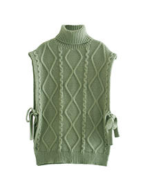 Fashion Green Solid Color Eight-strand Thick Stitch High Neck Waistcoat Sweater