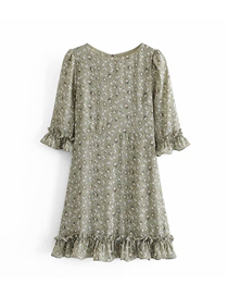 Fashion Printing Floral Flared Sleeve Print Ruffled Dress