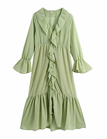 Fashion Green Ruffled Chiffon Printed V-neck Dress