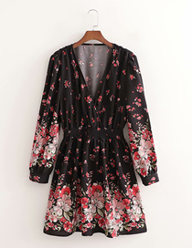 Fashion Printing Flower Print Deep V-neck Waist Dress