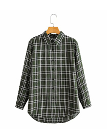 Fashion Green Check Print Lapel Long Sleeve Shirt