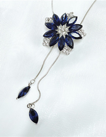 Fashion Blue Flower And Diamond Alloy Tassel Necklace