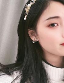 Fashion Yellow Love Pearl And Diamond Alloy Earrings