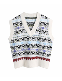 Fashion Photo Color Flower Jacquard Pullover V-neck Loose Sweater Knitted Vest