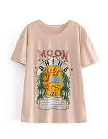 Fashion Photo Color Moonlight Print Crew Neck Pullover T-shirt Top