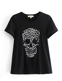 Fashion Photo Color Flocking Skull Print Crew Neck Pullover T-shirt