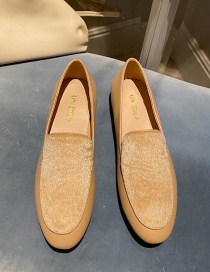 Fashion Apricot Real Horsehair Flat Round Toe Shoes