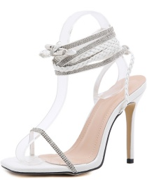 Fashion White Lace-up Long Stiletto High Heels With Rhinestones