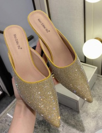 Fashion Yellow Point Drill High School Heel With Pointed Toe And Semi-support Shoes