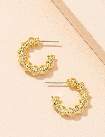 Fashion Gold Color Trumpet Geometric Twisted Twist Circle Earrings