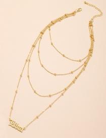 Fashion Gold Color Letter Pendant Alloy Multilayer Necklace