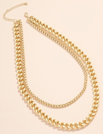 Fashion Gold Color Chain Alloy Multilayer Necklace