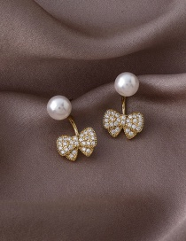 Fashion Gold Color Micro Inlaid Zircon Bow Pearl Earrings