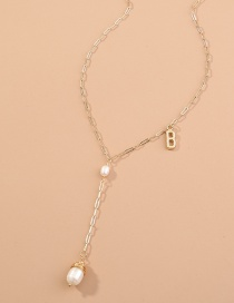 Fashion Gold Color Natural Pearl Pendant Alphabet Alloy Necklace