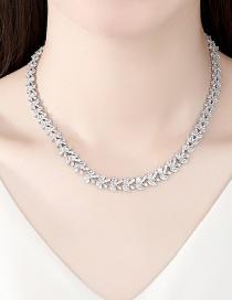 Fashion Silver Color Copper Inlaid Zircon Necklace