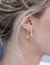 Fashion Gold Color C-shaped Irregular Brushed Spiral Earrings