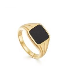 Fashion Number 8 Titanium Steel Gold Plated Square Alloy Ring