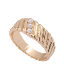 Fashion Number 8 Pearl Stripe Alloy Round Ring