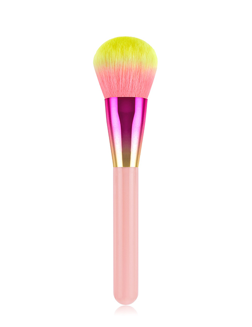 Fashion Pink Colorful Single Gradient Wooden Handle Nylon Brush