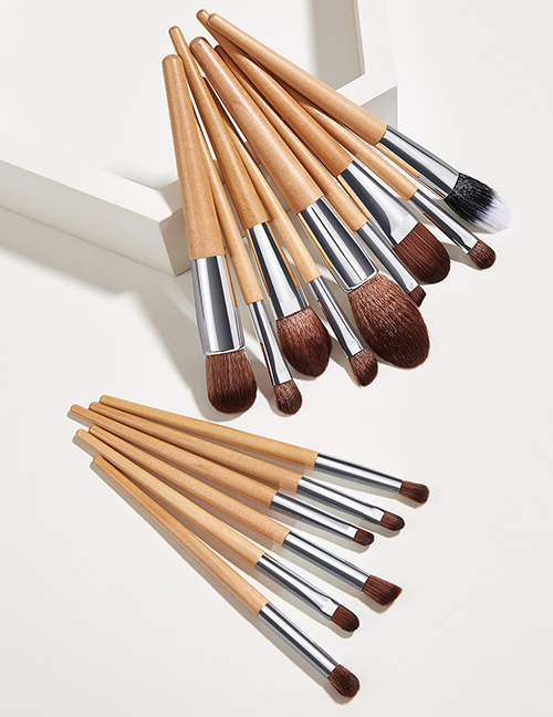 Fashion Log 15pcs Wooden Handle Nylon Hair Aluminum Tube Makeup Brush Set