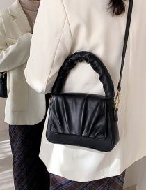 Fashion Black Solid Color Single Shoulder Crossbody Bag With Pleated Flap
